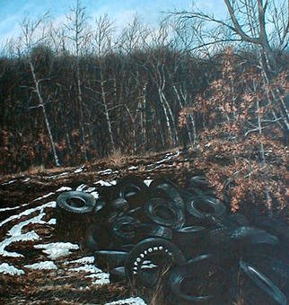 James Gwynne, 'Landscape with Tires', 1990, original Painting Oil, 65 x 70  x 3 inches. Artwork description: 2307 Beautiful winter spot in the woods, withsome fall leaves left on the ground and patches of snow, and, oops, an illegaldumping ground for tires...