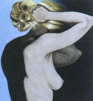 James Gwynne, 'Model Fixing Her Hair', 2002, original Painting Oil, 70 x 75  x 3 inches. Artwork description: 2703 Heroic scale model fragment posing with arms raised adjusting her full blonde hair....