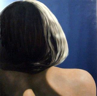 James Gwynne, 'Model Fragment', 2005, original Painting Oil, 70 x 70  x 3 inches. Artwork description: 2703  Large cropped image showing a back view of model' s hair, back, and shoulder with dramatic lighting....