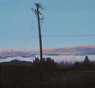 James Gwynne, 'Mt Washington with Teleph...', 1992, original Painting Oil, 65 x 60  x 3 inches. Artwork description: 2307 Beautiful view of snow- capped Mt. Washington at duskupstaged by a telephone pole...
