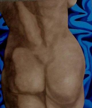 James Gwynne, 'Nude Fragment', 2002, original Painting Oil, 70 x 80  x 3 inches. Artwork description: 2703 Enlarged detail of nude with empty space filled with blue drapery...