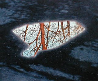 James Gwynne, 'Parking Lot Puddle', 1998, original Painting Oil, 60 x 50  x 3 inches. Artwork description: 2307 A puddle in a parking lot reflects the image of trees and sky....
