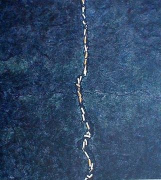 James Gwynne, 'Pavement Crack with Cigar...', 1990, original Painting Oil, 44 x 48  x 3 inches. Artwork description: 2703 A crack in the pavement with trapped cigarette butts which look like an aerial view of a train or snake...