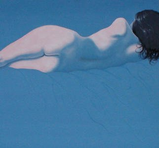 James Gwynne, 'Reclining Nude', 1988, original Painting Oil, 75 x 70  x 3 inches. Artwork description: 2703 Reclining model in simplified blue setting...