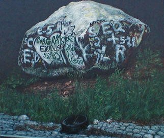 James Gwynne, 'Rock with Grafitti and Tire', 1989, original Painting Oil, 65 x 60  x 3 inches. Artwork description: 2307 A large rock boldly decorated along a well- travelled highway, accented with a discarded tire...