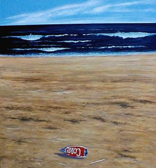 James Gwynne, 'Seascape with Coke', 1989, original Painting Oil, 65 x 70  x 3 inches. Artwork description: 2307 The beach, the ocean, and of course asign that someone was there...