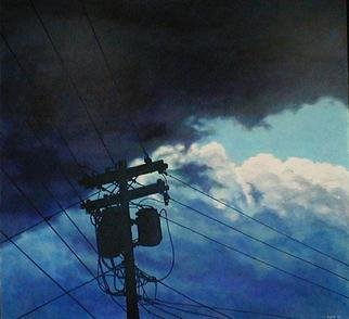 James Gwynne, 'Stormy Sky with Telephone Pole', 1990, original Painting Oil, 75 x 70  x 3 inches. Artwork description: 2307 Stormy sky with a silhouetted telephone pole and wires...