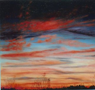 James Gwynne, 'Sunset and Power Tower', 1999, original Painting Oil, 75 x 70  x 3 inches. Artwork description: 2307 Beautiful sunset sky with inevitable mark of man' s presence...