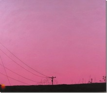 Artist: James Gwynne's, title: Sunset and Telephone Pole, 2012, Painting Oil