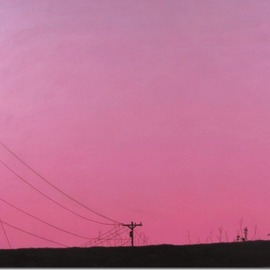 Artist: James Gwynne, title: Sunset and Telephone Pole, 2012, Original Painting Oil