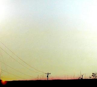 James Gwynne, 'Sunset with Telephone Pole', 2002, original Painting Oil, 70 x 75  x 3 inches. Artwork description: 2307 The sun sets over a ridge with a lonely telephone pole silhouetted against the twilight sky...