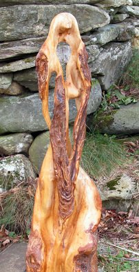 John Clarke; Shawl, 2015, Original Sculpture Wood, 10 x 28 inches. Artwork description: 241 A woman wearing a long shawl stands on a black cherry burl...