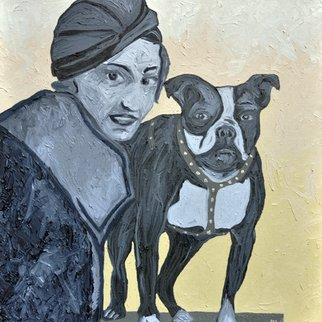 Jaime Hesper; Bahk Bahk, 2012, Original Painting Oil, 20 x 20 inches. Artwork description: 241  Boston Terrier,  portrait of woman with her dog, expressionist, thick paint, heavy brushstrokes, inspired by vintage photo,  history, ivory and gray prominent colors, oil on canvas. gallery wrapped canvas. framed with wood that is stained black            ...