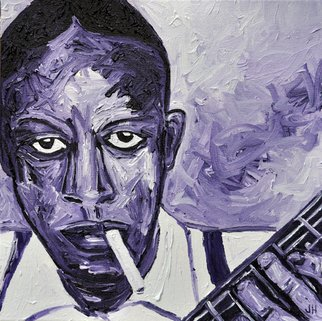 Jaime Hesper; Blues, Indeed, 2012, Original Painting Oil, 12 x 12 inches. Artwork description: 241  Robert Johnson,  portrait, expressionist, bold, colorful, blues musician, guitar, inspired by vintage photo, color, thick paint, lavender, purple, cigarette, history    ...