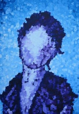 Jaime Hesper, 'Chicago', 2004, original Painting Oil, 17 x 28  x 2 inches. Artwork description: 1911 oil on canvas.  variations of blue/ purple.  thick texture, high contrast highlights.  portrait of young woman....