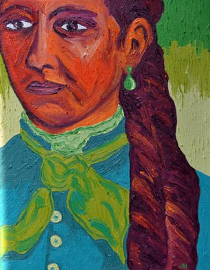 Jaime Hesper; Esmeralda, 2012, Original Painting Oil, 11 x 14 inches. Artwork description: 241  bold colorful,  portrait of woman, expressionist, thick paint, heavy brushstrokes, inspired by vintage photo,  history, orange, magenta, turquoise, green prominent colors, oil on canvas. gallery wrapped canvas.             ...