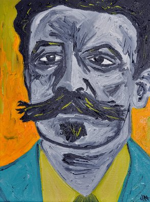 Jaime Hesper; Henri Rene Albert Guy De ..., 2012, Original Painting Oil, 9 x 11 inches. Artwork description: 241  portrait, expressionist, bold, colorful, french, philosopher, vintage, color, moustache...