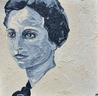 Jaime Hesper; Lady Schizzi, 2012, Original Painting Oil, 12 x 12 inches. Artwork description: 241  Italian,  portrait of woman, expressionist, thick paint, heavy brushstrokes, inspired by vintage photo,  history, ivory and gray prominent colors, oil on canvas. gallery wrapped canvas.           ...
