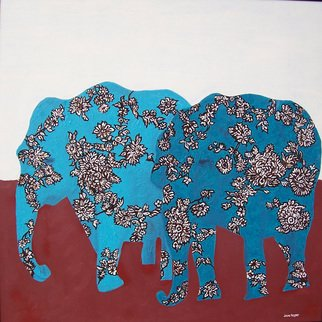 Jaime Hesper; Leaving The Matriarch, 2006, Original Painting Oil, 24 x 24 inches. Artwork description: 241  inspired by fabric prints. floral ivory, brown, and turquoise elephants on brick red and ivory background. Oil on hardboard with black metal frame. ...
