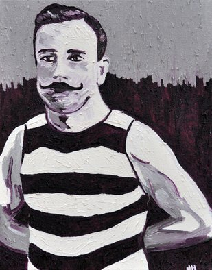 Jaime Hesper; Pascal, 2012, Original Painting Oil, 11 x 14 inches. Artwork description: 241  French athlete,  portrait, expressionist, bold, colorful, stripes, inspired by vintage photo, color, thick paint, heavy brushstrokes, history     ...