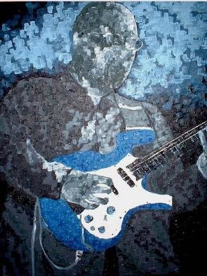 Jaime Hesper, 'Robert', 2005, original Painting Oil, 24 x 32  x 2 inches. Artwork description: 1911 Commissioned painting of Robert at a jazz performance.  Shades of deep blues/ greys with strong contrast.  Oil on canvas.  ...