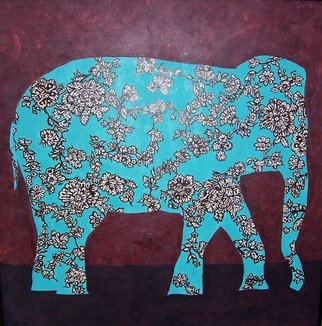Jaime Hesper; Study In Grief, 2006, Original Painting Oil, 24 x 24 inches. Artwork description: 241  ivory, brown and turquoise floral elephant. dark red and black background. black metal frame. oil on hardboard. ...