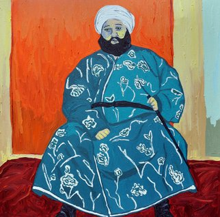Jaime Hesper; The Boss Of Bukhara, 2012, Original Painting Oil, 24 x 24 inches. Artwork description: 241  Bukhara, Uzbekistan, portrait of an old emir, expressionist, bold, colorful, Central Asian, Former soviet union, inspired by vintage photo, color, history, reds, turquoise prominent colors. Part of a set with The Dzhigit Family listed here....