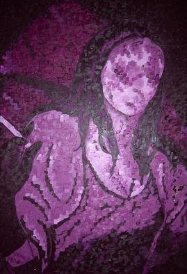 Jaime Hesper, 'la grecque', 2005, original Painting Oil, 27 x 35  x 2 inches. Artwork description: 1911 oil, beads, sequins on canvas.  beads/ sequinslocated on broach.  Thick, deep purples and exaggerated contrast.  Portrait of woman with fabulous stole and cigarette....