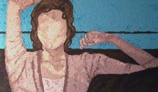 Jaime Hesper, 'not a morning person', 2005, original Painting Oil, 44 x 25  x 2 inches. Artwork description: 1911 oil and sand on canvas. thick paint/ grainy texture. highly contrasting light- effects. lounging woman in aquas/ browns....