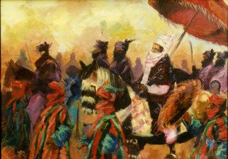 Jide Aje; Durbar, 1990, Original Painting Acrylic, 48 x 24 inches. Artwork description: 241 This piece represents the phase when I was fresh out of school and trying to find my feet ( or hands) .I was concerned about keeping up technical skills and trying to make a living.( the painting did find a good home) .  ...