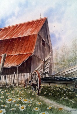 Don Bradford; A Time For Daiseys, 2004, Original Watercolor, 18 x 25 inches. Artwork description: 241    Uncle Seifs old wagon, Tennessee ...