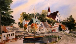 Don Bradford; Scotia Princess, 2006, Original Watercolor, 24 x 17 inches. Artwork description: 241     Visited Bay of Funday in 2003 and composed a typical N. S. village.  ...
