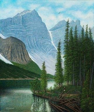 James Hildebrand; Gone Fishing, 2018, Original Painting Oil, 20 x 24 inches. Artwork description: 241 Eagles Fishing on Moraine Lake, Alberta Canada...