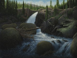 James Hildebrand; Moring Light On Alberta Falls, 2017, Original Painting Oil, 24 x 18 inches. Artwork description: 241 Alberta Falls in Rocky Mountain National Part...
