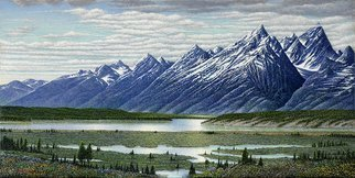 James Hildebrand; Welcome To Willow Flats, 2016, Original Painting Oil, 24 x 12 inches. Artwork description: 241 Willow Flats Teton  Mountain Range...