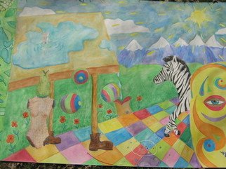 Jim Bilgere; African Mindscape, 2018, Original Watercolor, 78 x 52 inches. Artwork description: 241 Surrealist imagery of a dreamscape including an African mask and a Zebra to give refernce to athought of what Africa may be like...