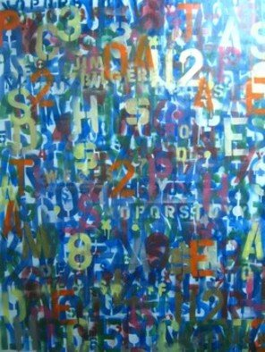 Jim Bilgere; Alphabet Soup, 2011, Original Painting Other, 48 x 60 inches. Artwork description: 241 Stencilled spray paint of numbers and letters all mixed up like Alphabet Soup, To  represrent all the numbers modern humans have to remember just to function all scrambled around like free jazz music...