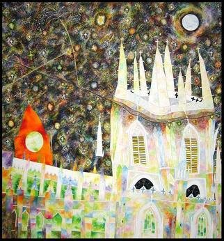 Jim Haldane; Starry Night, 1988, Original Painting Acrylic, 6 x 5 feet. Artwork description: 241  This large canvas is religious in nature and depicts Saint Peter's Church and St Bartholomew' s Church in Brighton. The night sky is awash with stars and is clearly inspired by Van Gogh' s painting of the same name. Jim did a series of thirteen large ...