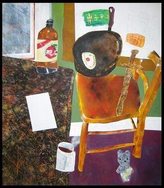 Jim Haldane; Still Life I, 1986, Original Painting Acrylic, 6 x 5 feet. Artwork description: 241  The second still life features many of the constants in Jim's life; beer and tobacco as well as the frying pan he used for the daily fry up. Twenty years later, nothing much has changed. . . ...