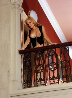 Jim Hellier; temptress, 2003, Original Photography Color, 43 x 58 cm. Artwork description: 241 Location shot in historic stately home model posing on balcony over main staircase...