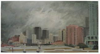 James Morin; Approaching Storm City, 1999, Original Painting Oil, 40 x 21 inches.