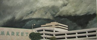 James Morin; Approaching Storm Market, 2000, Original Painting Oil, 44 x 18 inches.
