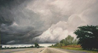 James Morin; Approaching Storm Turnpike, 2001, Original Painting Oil, 54 x 30 inches.