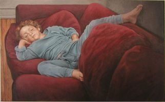 James Morin; TV Watcher Boy In Blue Pajamas, 1997, Original Painting Oil, 48 x 30 inches.