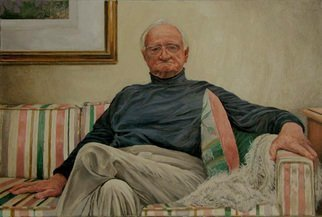 James Morin; TV Watcher Elderly Man, 1998, Original Painting Oil, 36 x 24 inches.