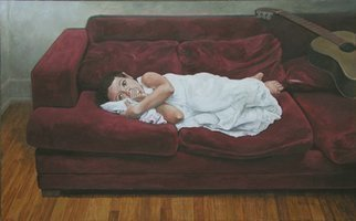 James Morin; TV Watcher Girl In White ..., 1996, Original Painting Oil, 48 x 30 inches.
