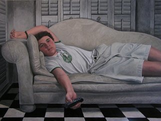 James Morin; TV Watcher With Remote, 2004, Original Painting Oil, 48 x 36 inches.