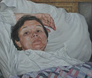 James Morin; TV Watcher Woman In Bed, 1997, Original Painting Oil, 35 x 30 inches.
