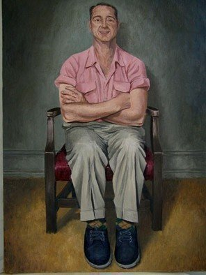 James Morin; TV Watcher With Pink Shirt, 2002, Original Painting Oil, 21 x 30 inches.