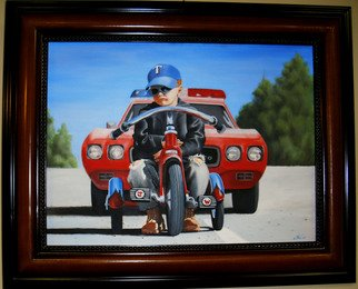 Jimmy Wharton; Busted, 2010, Original Painting Oil, 24 x 24 inches. Artwork description: 241   Little boy pulled over by police                       ...